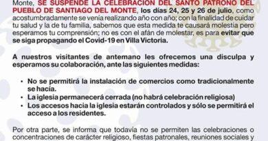 Suspenden celebración de Santiago del Monte en Villa Victoria por COVID-19